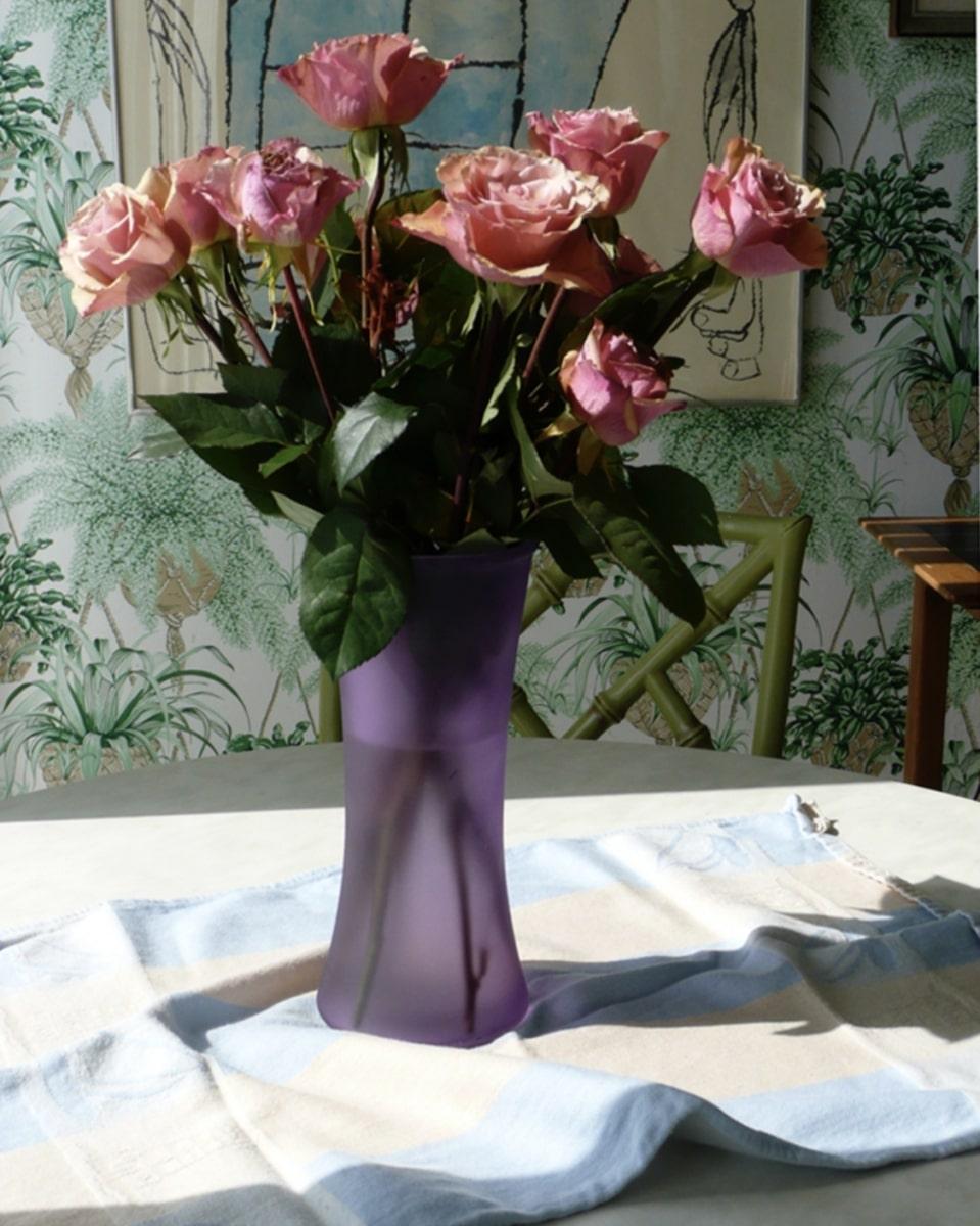 Pink Roses in Lavender Vase