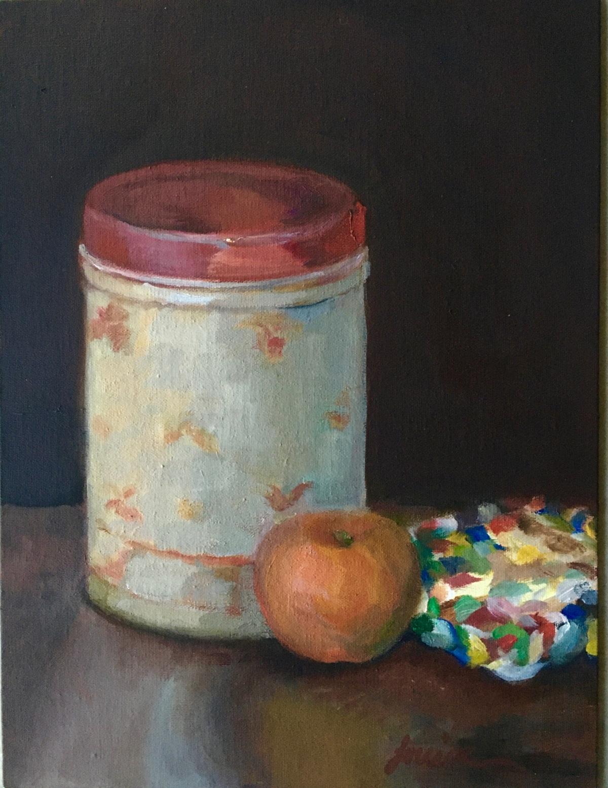 Canister with Orange-and-Potholder