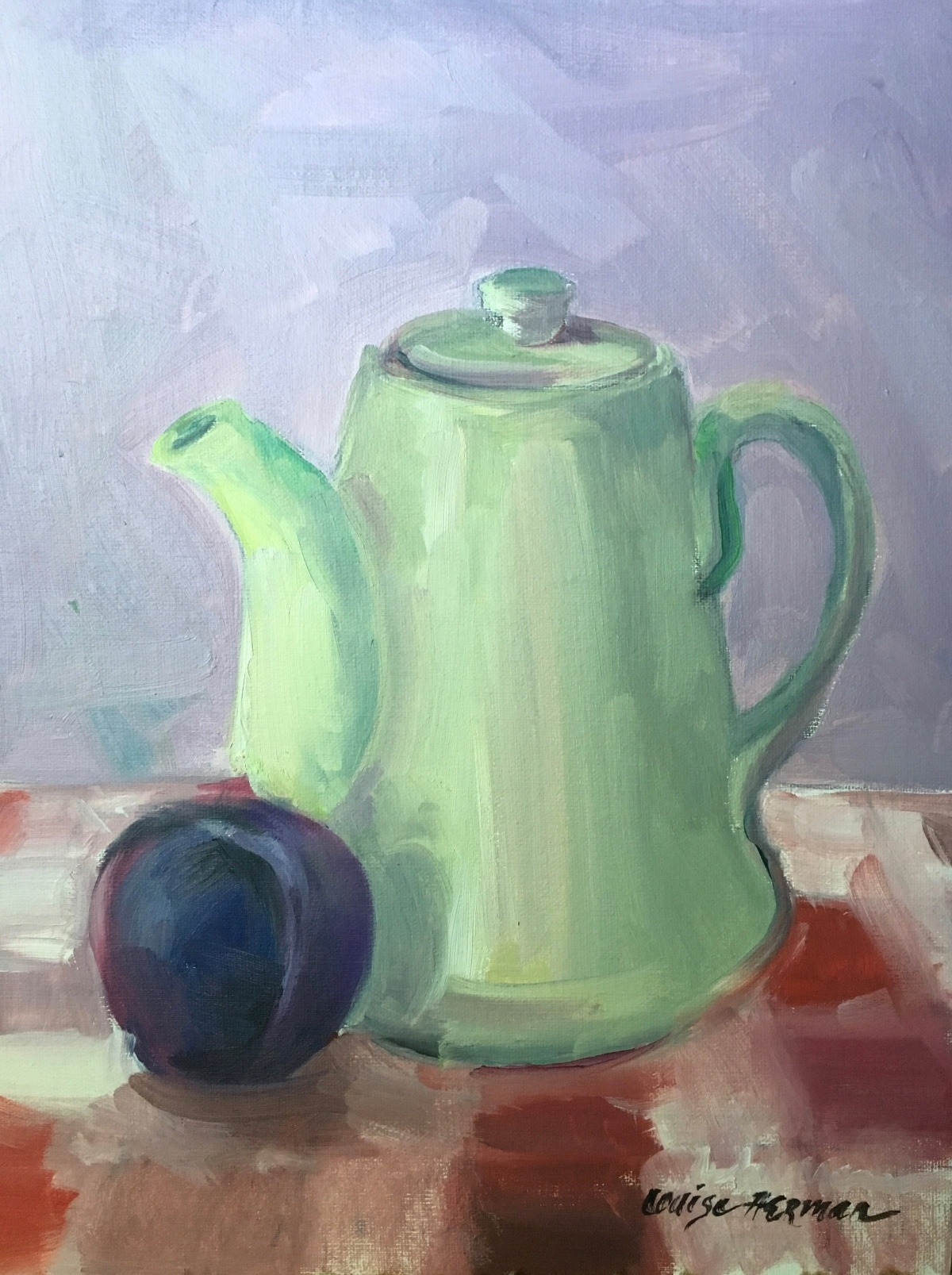 Green Teapot with Plum