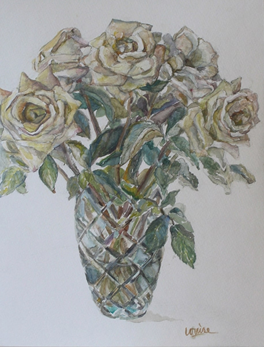 Roses in Crystal Vase