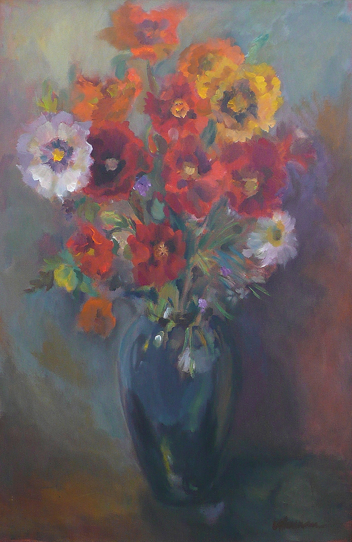 The Black Vase with Bouquet
