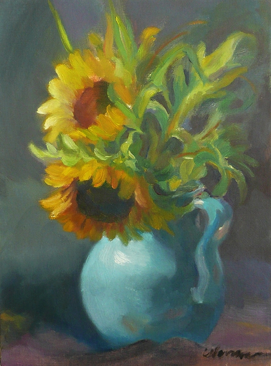 The Sunflower Bouquet, Blue Jug