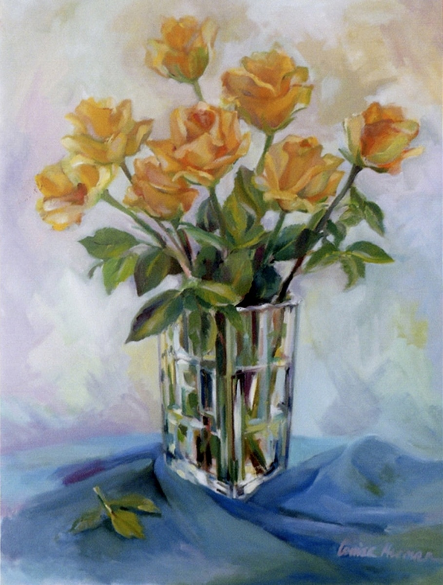 Yellow Roses in Glass Pitcher