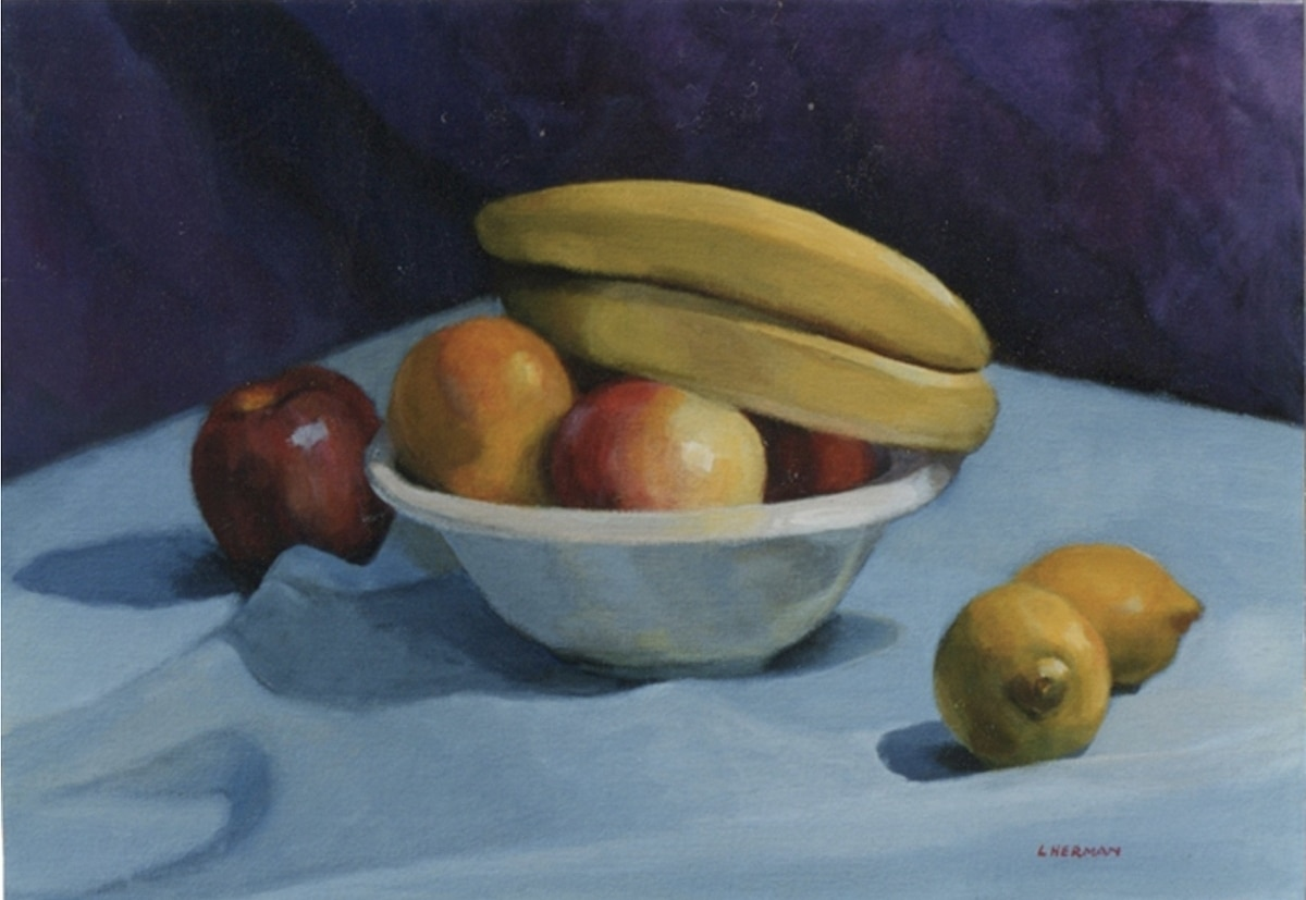 Bowl of Fruit on Blue Tablecloth