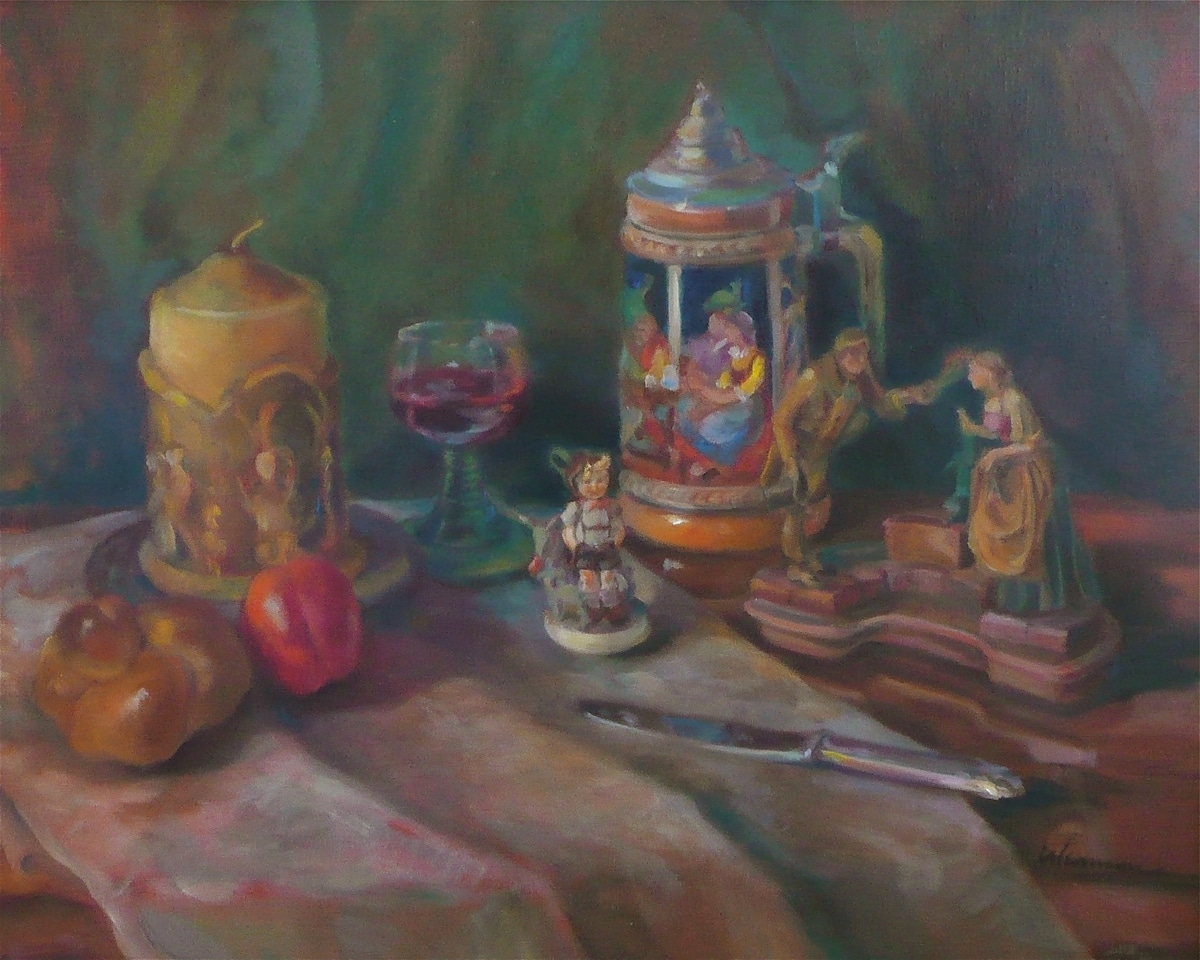 Still Life With Candle, Beer Stein, Hummel l