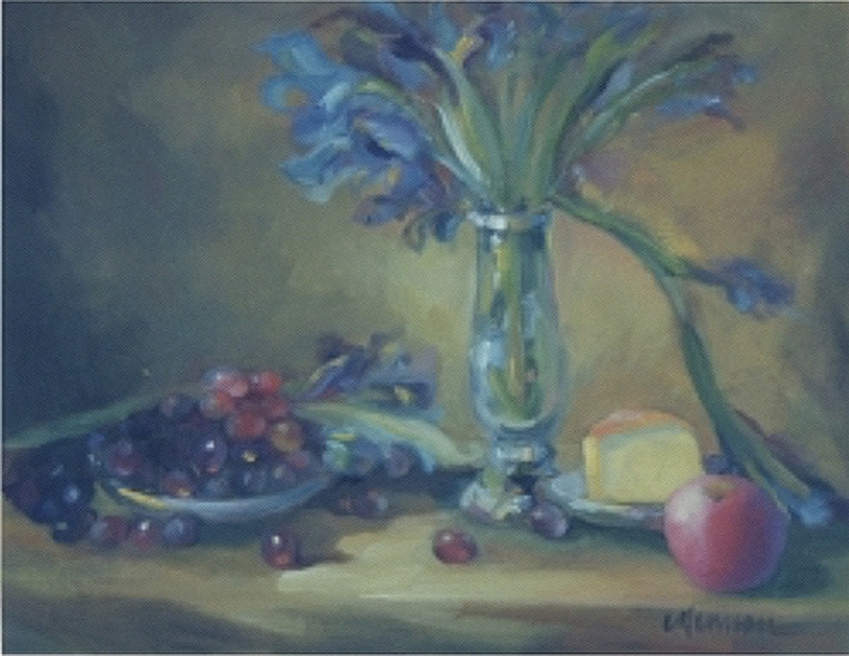 Still Life with Glass Vase and Grapes