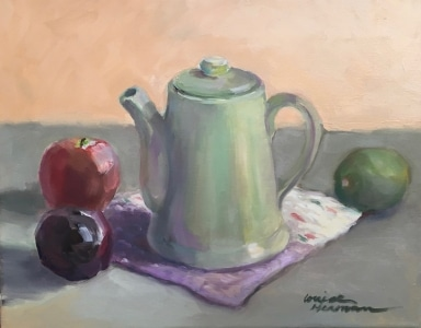 Apple,Plum and Lime w Green Teapot