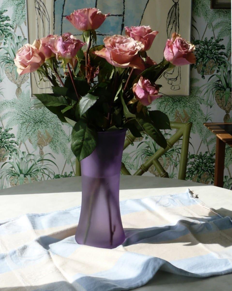 Pink-Roses-in-Lavender-Vase